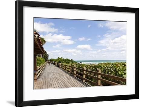 Miami Boardwalk, Wooden Jetty for Strolling from 23 St. to the Indian Beach Park in 44 St., Florida-Axel Schmies-Framed Art Print
