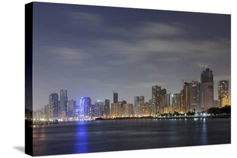 Skyline, Corniche Street, Emirate of Sharjah, United Arab Emirates, Arabian Peninsula-Axel Schmies-Stretched Canvas Print