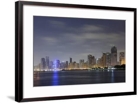 Skyline, Corniche Street, Emirate of Sharjah, United Arab Emirates, Arabian Peninsula-Axel Schmies-Framed Art Print