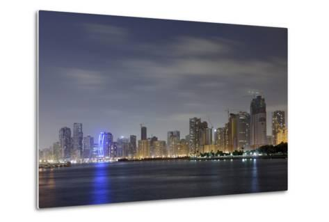 Skyline, Corniche Street, Emirate of Sharjah, United Arab Emirates, Arabian Peninsula-Axel Schmies-Metal Print