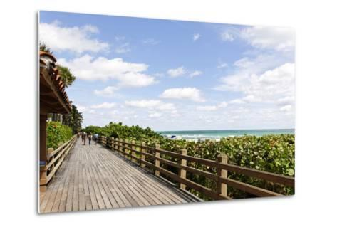 Miami Boardwalk, Wooden Jetty for Strolling from 23 St. to the Indian Beach Park in 44 St., Florida-Axel Schmies-Metal Print