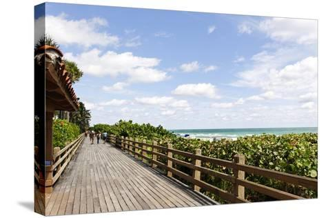 Miami Boardwalk, Wooden Jetty for Strolling from 23 St. to the Indian Beach Park in 44 St., Florida-Axel Schmies-Stretched Canvas Print