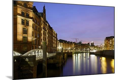 Lighting of the Historical Speicherstadt (City of Warehouses) with Canal, Bei Den MŸhren Area-Axel Schmies-Mounted Photographic Print