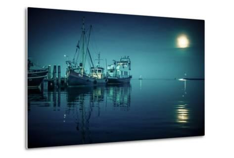 The Netherlands, Frisia, Terschelling, Harbour, Night, Moon-Ingo Boelter-Metal Print
