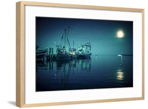 The Netherlands, Frisia, Terschelling, Harbour, Night, Moon-Ingo Boelter-Framed Art Print