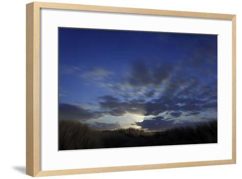Dune Landscape with Full Moon, Night, Island Fehmarn, Schleswig-Holstein, Germany-Axel Schmies-Framed Art Print
