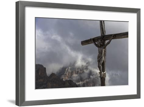 Europe, Italy, the Dolomites, South Tyrol, Summit Cross of the Small Lagazuoi-Gerhard Wild-Framed Art Print