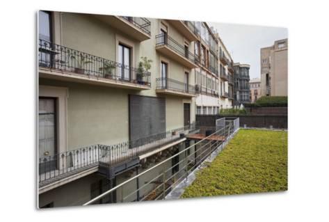 Spain, Catalonia, Barcelona, Residential House, Facade, Balconies-Rainer Mirau-Metal Print