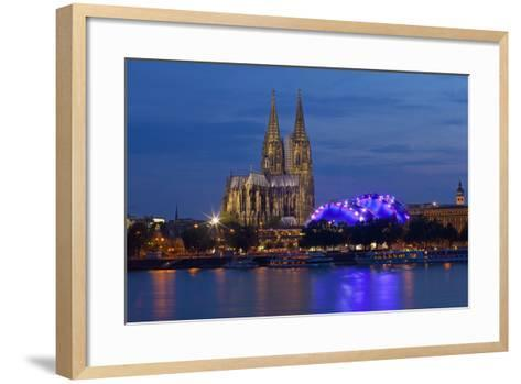 Germany, North Rhine-Westphalia, Cologne, Cathedral, the Rhine, Musikpark, Evening-Chris Seba-Framed Art Print