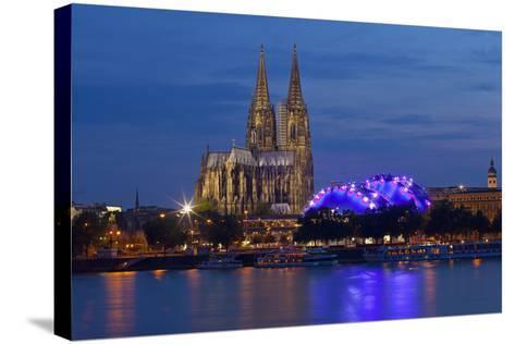 Germany, North Rhine-Westphalia, Cologne, Cathedral, the Rhine, Musikpark, Evening-Chris Seba-Stretched Canvas Print