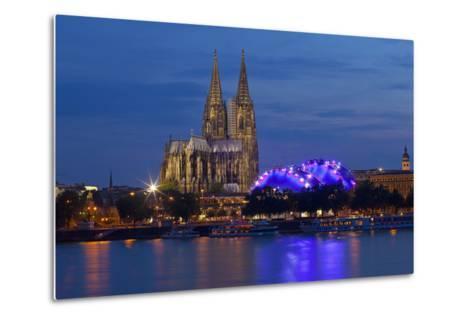 Germany, North Rhine-Westphalia, Cologne, Cathedral, the Rhine, Musikpark, Evening-Chris Seba-Metal Print