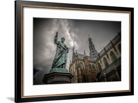 The Netherlands, Haarlem, City Centre, Market, Church, St. Bavo-Ingo Boelter-Framed Art Print