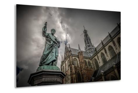 The Netherlands, Haarlem, City Centre, Market, Church, St. Bavo-Ingo Boelter-Metal Print