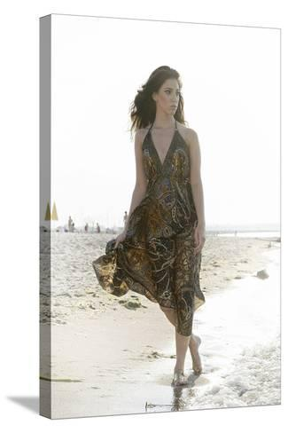 Woman, Young, Summer Dress, Sandy Beach, Niendorf on the Baltic Sea-Axel Schmies-Stretched Canvas Print
