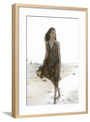 Woman, Young, Summer Dress, Sandy Beach, Niendorf on the Baltic Sea-Axel Schmies-Framed Art Print