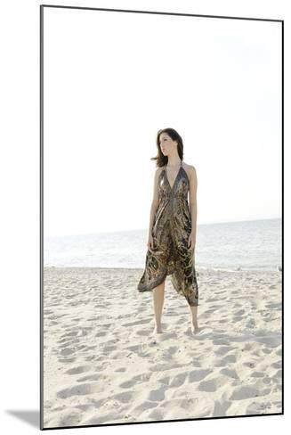Woman, Young, Summer Dress, Sandy Beach, Niendorf on the Baltic Sea-Axel Schmies-Mounted Photographic Print