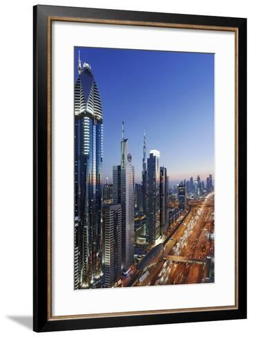 Downtown Dubai, Panorama, Skyline, Evening Mood at the Persian Gulf, Traffic-Axel Schmies-Framed Art Print