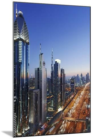 Downtown Dubai, Panorama, Skyline, Evening Mood at the Persian Gulf, Traffic-Axel Schmies-Mounted Photographic Print