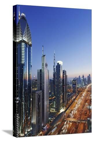 Downtown Dubai, Panorama, Skyline, Evening Mood at the Persian Gulf, Traffic-Axel Schmies-Stretched Canvas Print