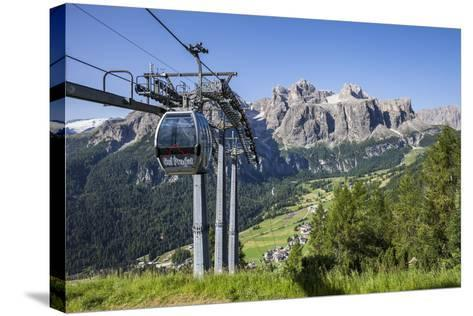 Cable Car on the Col Pradat, in the Valley Kolfuschg, Sella Behind, Dolomites, South Tyrol-Gerhard Wild-Stretched Canvas Print