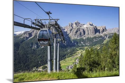 Cable Car on the Col Pradat, in the Valley Kolfuschg, Sella Behind, Dolomites, South Tyrol-Gerhard Wild-Mounted Photographic Print