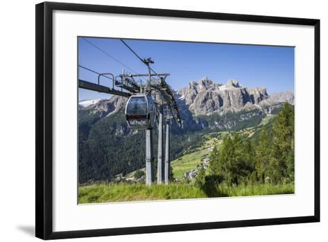 Cable Car on the Col Pradat, in the Valley Kolfuschg, Sella Behind, Dolomites, South Tyrol-Gerhard Wild-Framed Art Print