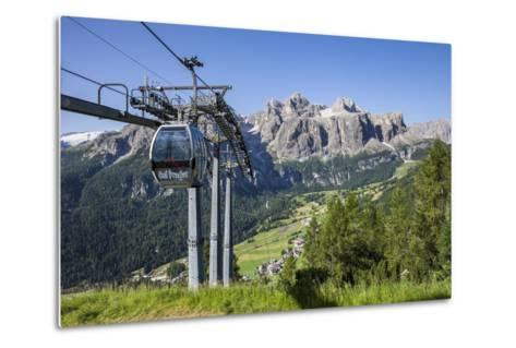Cable Car on the Col Pradat, in the Valley Kolfuschg, Sella Behind, Dolomites, South Tyrol-Gerhard Wild-Metal Print