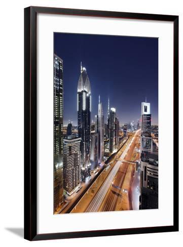 Centre of Dubai City, Panorama, Skyline, Evening Mood at Persian Gulf, Traffic-Axel Schmies-Framed Art Print