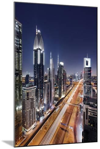Centre of Dubai City, Panorama, Skyline, Evening Mood at Persian Gulf, Traffic-Axel Schmies-Mounted Photographic Print