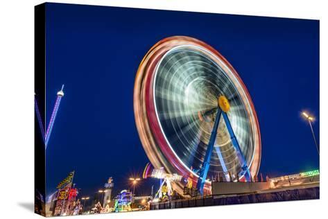 Germany, Bavaria, Upper Bavaria, Munich, Theresienwiese, Oktoberfest, Big Wheel, Evening Mood-Udo Siebig-Stretched Canvas Print