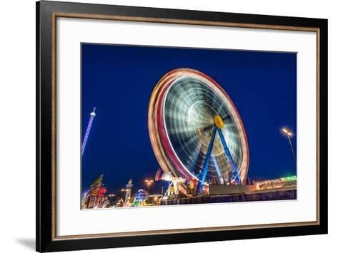 Germany, Bavaria, Upper Bavaria, Munich, Theresienwiese, Oktoberfest, Big Wheel, Evening Mood-Udo Siebig-Framed Art Print