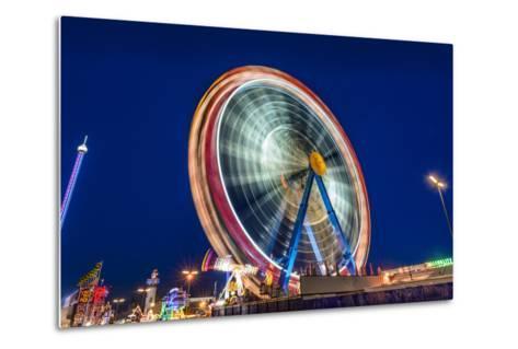 Germany, Bavaria, Upper Bavaria, Munich, Theresienwiese, Oktoberfest, Big Wheel, Evening Mood-Udo Siebig-Metal Print