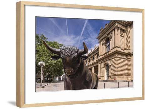 Germany, Hessen, Frankfurt Am Main, Exchange Place, Bull Sculpture with Frankfurter Wertpapierbšrse-Udo Siebig-Framed Art Print