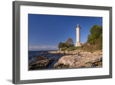 Croatia, Istria, Adriatic Coast, Umag, Village Savudrija, Lighthouse at Cape Savudrija-Udo Siebig-Framed Art Print