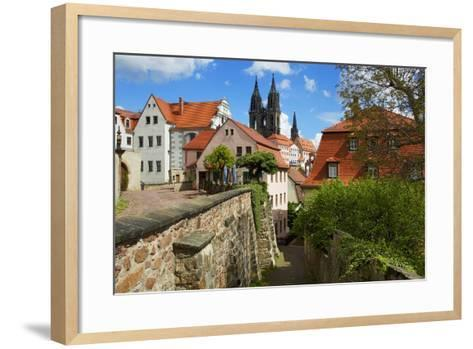 At the Red Steps in the Old Town of Mei§en, View to the Cathedral-Uwe Steffens-Framed Art Print