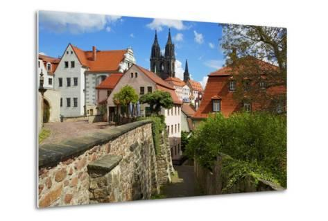 At the Red Steps in the Old Town of Mei§en, View to the Cathedral-Uwe Steffens-Metal Print