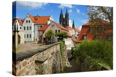 At the Red Steps in the Old Town of Mei§en, View to the Cathedral-Uwe Steffens-Stretched Canvas Print