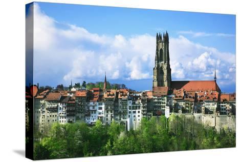 Switzerland, Fribourg on the Sarine River-Uwe Steffens-Stretched Canvas Print
