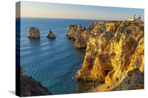 Portugal, Algarve, Lagos, Steep Rock Coast, Sand Bay-Chris Seba-Stretched Canvas Print