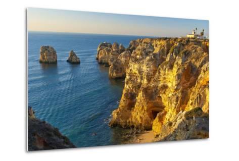 Portugal, Algarve, Lagos, Steep Rock Coast, Sand Bay-Chris Seba-Metal Print
