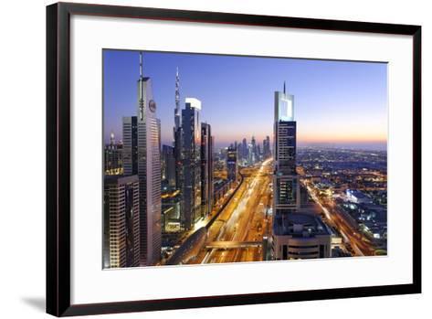 Downtown Dubai, Panorama, Skyline, Evening Mood at the Persian Gulf, Traffic-Axel Schmies-Framed Art Print
