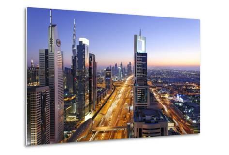 Downtown Dubai, Panorama, Skyline, Evening Mood at the Persian Gulf, Traffic-Axel Schmies-Metal Print