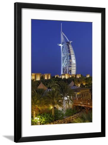 Burj Al Arab and Medinat Hotels, 7 Stars Hotel, Jumeirah, Dubai, United Arab Emirates-Axel Schmies-Framed Art Print