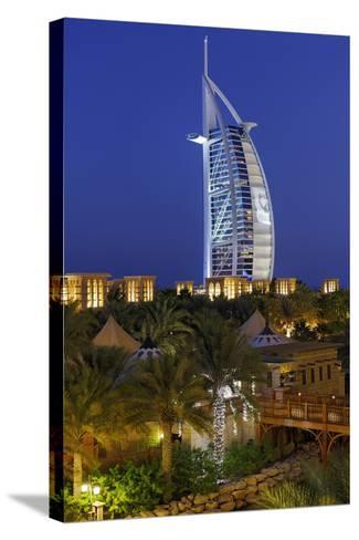 Burj Al Arab and Medinat Hotels, 7 Stars Hotel, Jumeirah, Dubai, United Arab Emirates-Axel Schmies-Stretched Canvas Print