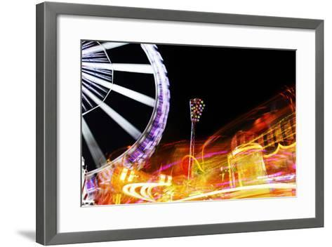 Hamburg Dom, Carousel, Amusement Ride, Motion, Dynamic-Axel Schmies-Framed Art Print