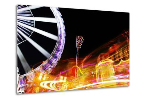 Hamburg Dom, Carousel, Amusement Ride, Motion, Dynamic-Axel Schmies-Metal Print