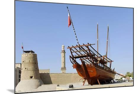 Old Merchant Ship in Front of Dubai Museum, Deira, Dubai, United Arab Emirates-Axel Schmies-Mounted Photographic Print