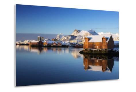 Norway, Lofoten, Reine, Houses, Water, Mountains-Dieter Meyrl-Metal Print