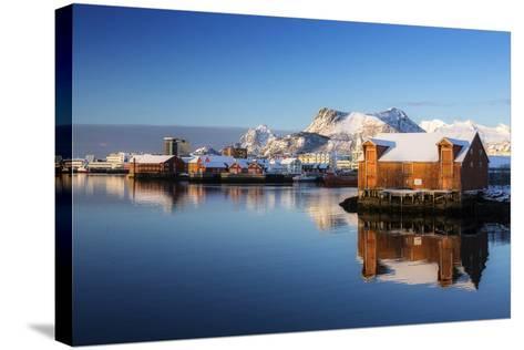 Norway, Lofoten, Reine, Houses, Water, Mountains-Dieter Meyrl-Stretched Canvas Print