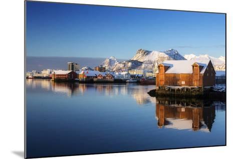 Norway, Lofoten, Reine, Houses, Water, Mountains-Dieter Meyrl-Mounted Photographic Print